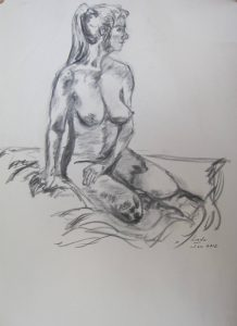 Joan Bolen kelowna artist female nude art Livessence charcoal drawing